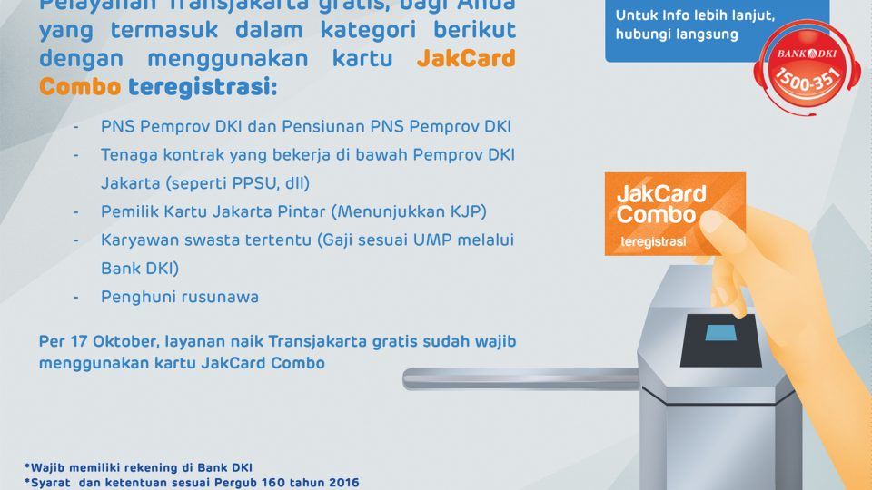 Layanan Transjak Gratis - JakCard Combo-